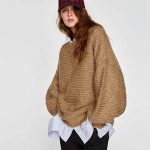 Zara Puff Sleeve Oversized Sweater Slouchy Camel